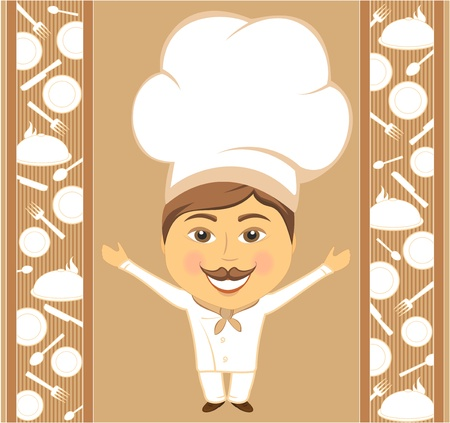 happy chef on background with utensil elements Vector
