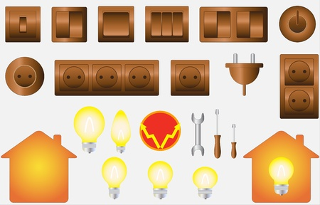 set colorful isolated objects of electrical equipment Vector