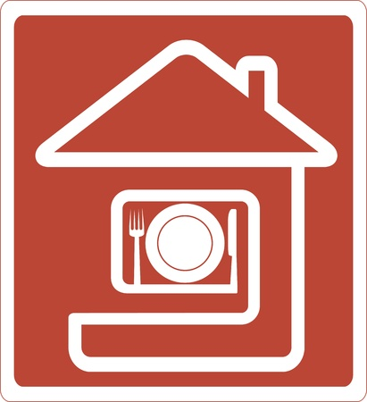 sign with house silhouette and utensil icon Vector