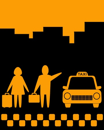 urban background with taxi car and people with luggage Vector