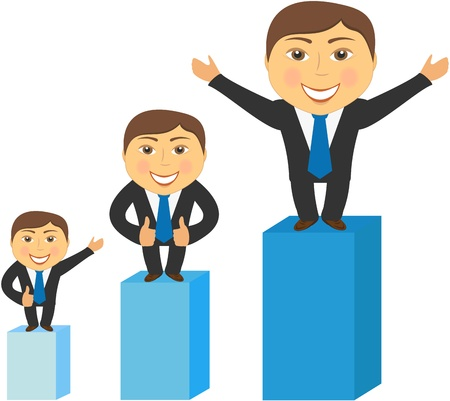 fund world: three cheerful successfully businessman standing and advertising, isolated Illustration