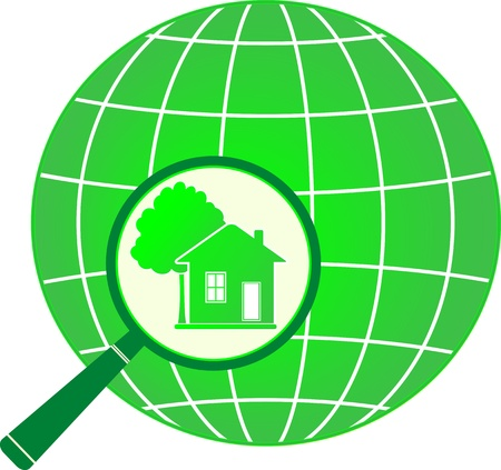 lodge: green eco symbol planet with house and tree in magnifier
