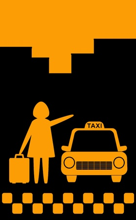 servicios publicos: de fondo con silueta de la ciudad en taxi una mujer parada para el viaje con la bolsa