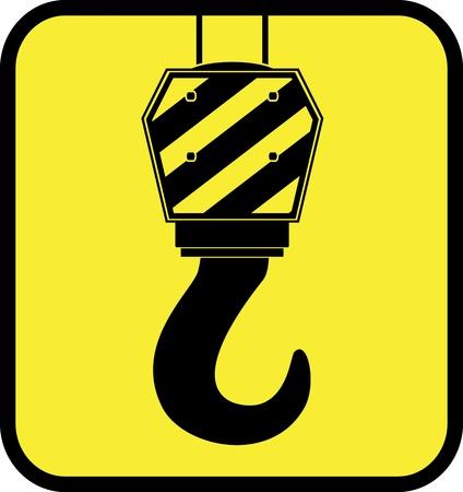 geel glanzend pictogram met kraan haak silhouet Vector Illustratie