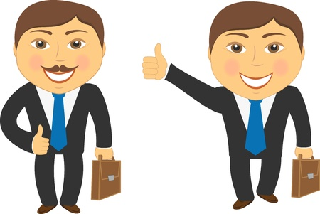 two cartoon successful businessman with portfolio and showing thumb up Vector