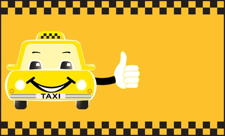 advertising card with cartoon taxi image showing thumb up