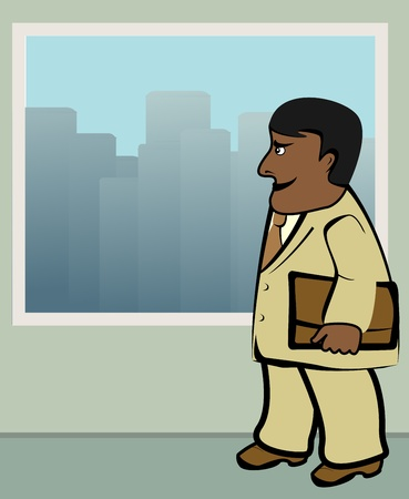 going places: drawing with afro american businessman standing near window in office Illustration