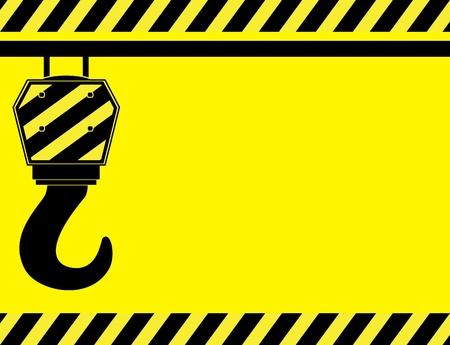 建設: 黄色の背景に建設フック、テキスト用のスペース
