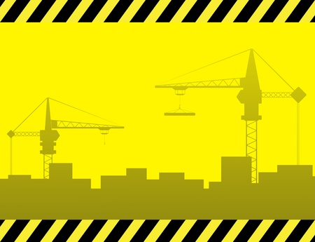 yellow urban construction background with crane and city landscape Stock Vector - 12340588