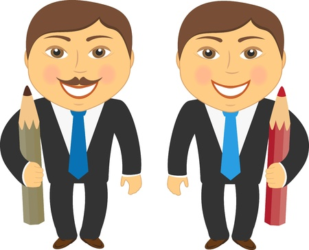 two cartoon man in suit with colorful pencil Vector