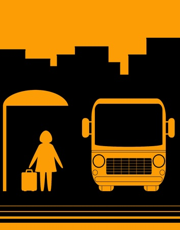 urban sketch sign with image woman with bag on bus stop Vector