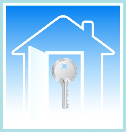 concept with image house and key silhouette on blue sky background Vector