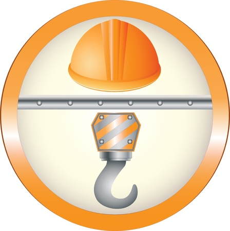 warning construction sign with hook and helmet image Vector