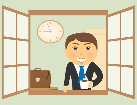 cartoon drawing with happy businessman in window with coffee cup Vector