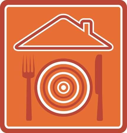 emblem for restaurant with house, plate, fork and knife silhouette Vector