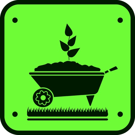 logo nature: image garden sign with wheelbarrow and green sprout