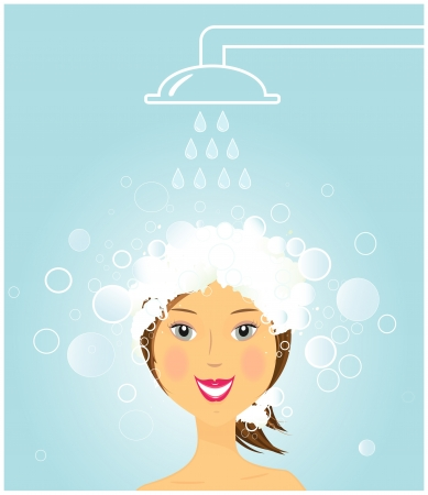 bath treatment: cartoon beauty girl washing hair under shower