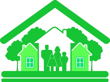 sign ecology construction cottage with houses and family silhouette Vector