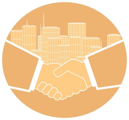 clasp: light round icon image of handshake and urban landscape Illustration