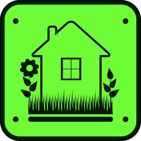 herb garden: green eco symbol icon with grass house and flower image