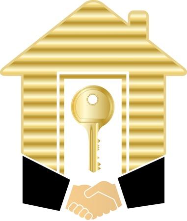 logo batiment: symbole de sécurité et le succès avec poignée de main et la maison de l'or avec la touche Illustration