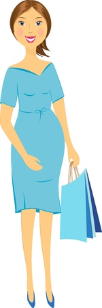 isolated happy pregnant woman in blue dress holds packet in hand Vector