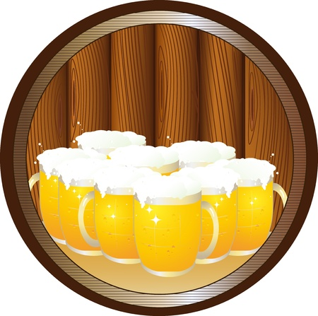 keg: many beer mugs on tray and desk in round wood background