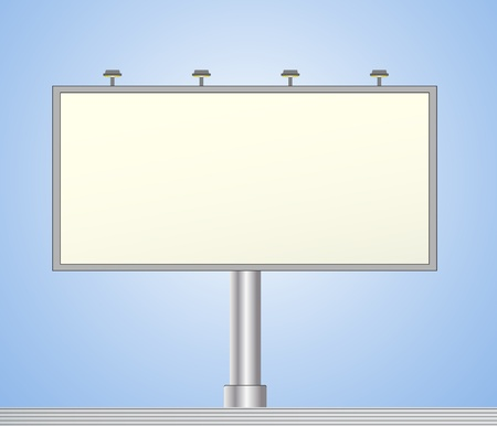 bill board: modern iron bill board on blue background with space for text