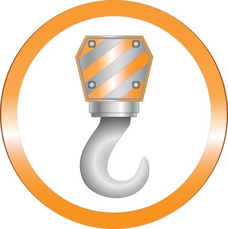 crane parts: Imagen de un cartel de construcci�n redonda con gancho de hierro pesada