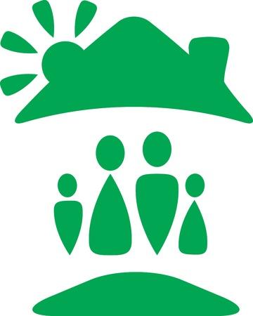 wees: groen bord met gelukkig gezin silhouet onder dak met zon