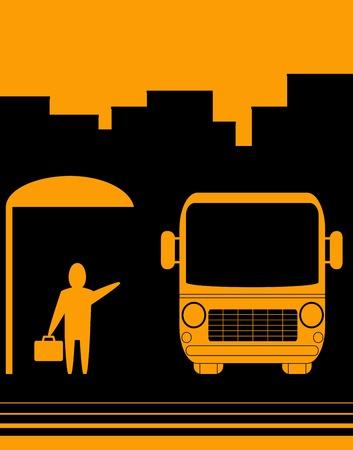 servicios publicos: signo croquis urbano con parada de autob�s de la imagen y el hombre