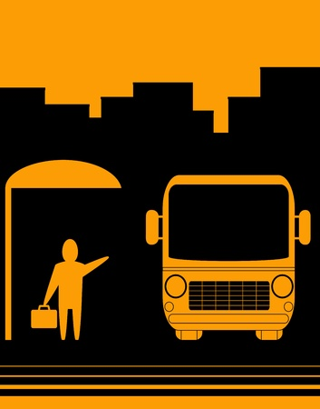 urban sketch sign with image bus stop and man Vector