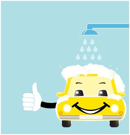 sonre�r coche de dibujos animados en el t�nel de lavado con jab�n espuma