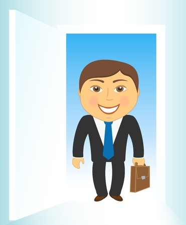 cute cartoon businessman on open door background Vector