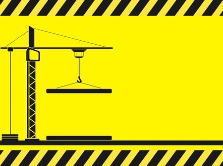 crane parts: de fondo de construcci�n de color amarillo con la silueta de la gr�a y espacio para el texto Vectores