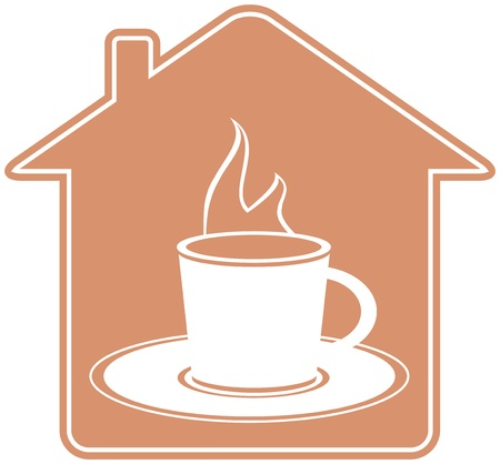 icon with house silhouette and cup with hot beverage Vector