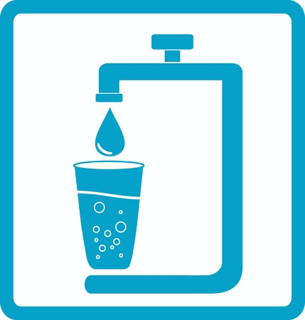 blue icon with image glass and tap water with drop Vector