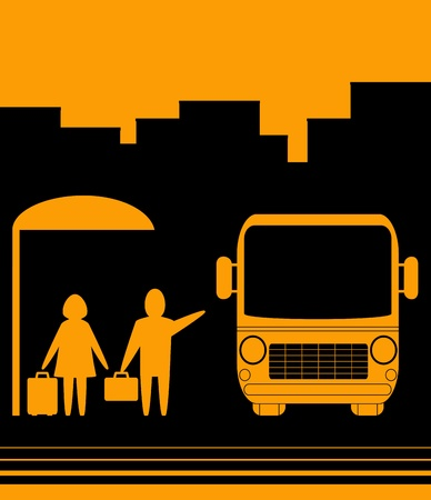 tourists stop: yellow sign with image bus stop and people woman and men Illustration