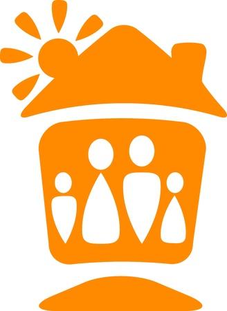 casa logo: simbolo caldo con silhouette della famiglia felice con la casa e il sole
