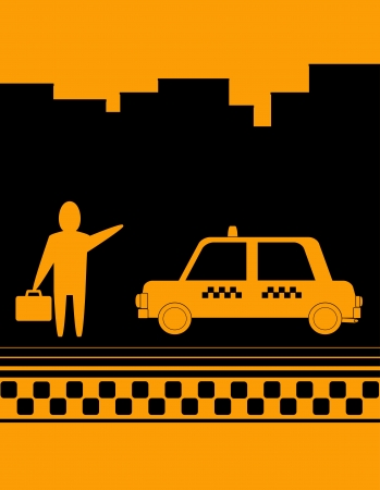 yellow taxi background with man hand up and cab Stock Vector - 12340484