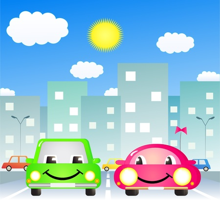 two cute cartoon car in city road Vector