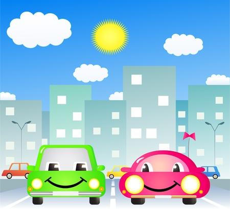 two cute cartoon car in city road