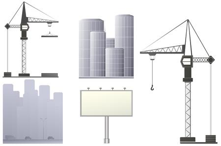 bouwkraan: set met bouwkraan, billboard en wolkenkrabbers Stock Illustratie