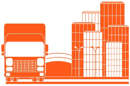 red sign delivery with silhouette of lorry and city Vector