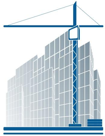 logotipo de construccion: signo industrial urbano con rascacielos y grúas de la construcción