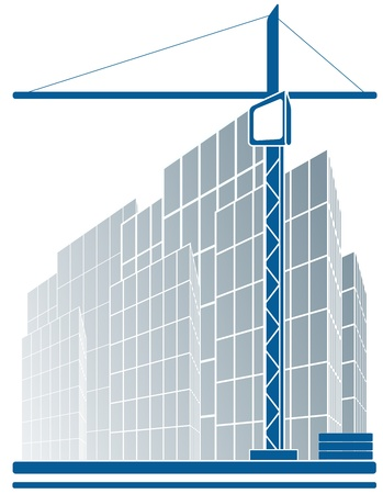 urban industrial sign with skyscraper and construction crane Vector
