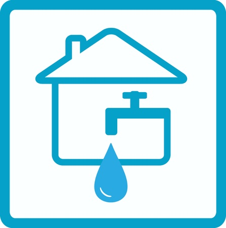 water sanitation: drop of water in house with silhouette of faucet