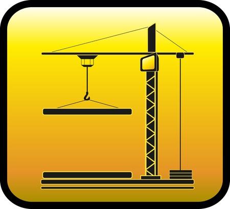bouwkraan: geel bord met moderne bouwkraan silhouet