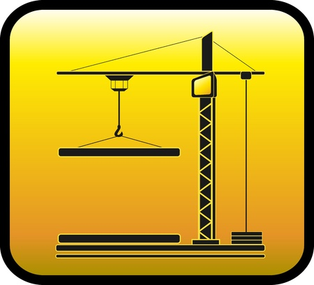 construction crane: yellow sign with modern construction crane silhouette