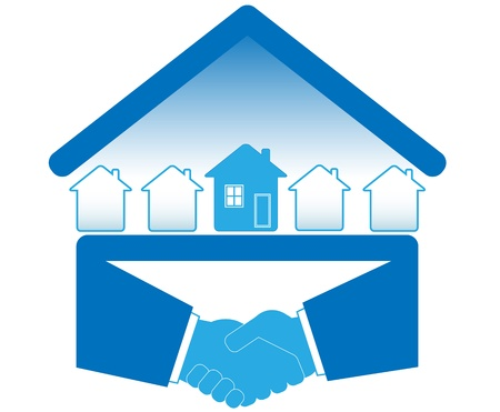 estate agent: blue sign with handshake and many houses Illustration